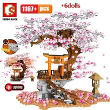 SEMBO şehir sokak görünümü fikir Sakura Inari tapınak tuğla arkadaşlar kiraz çiçeği Diy yaratıcı ev ağacı oyuncak inşaat blokları
