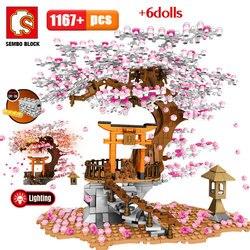 SEMBO City Street View Idea Sakura Inari Shrine Bricks Friends Cherry Blossom Technic Creator House Tree Building Blocks Toys
