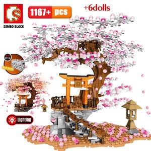 SEMBO City Street View Idea Sakura Inari Shrine Bricks Friends Cherry Blossom Technic Creator House Tree Building Blocks Toys(China)