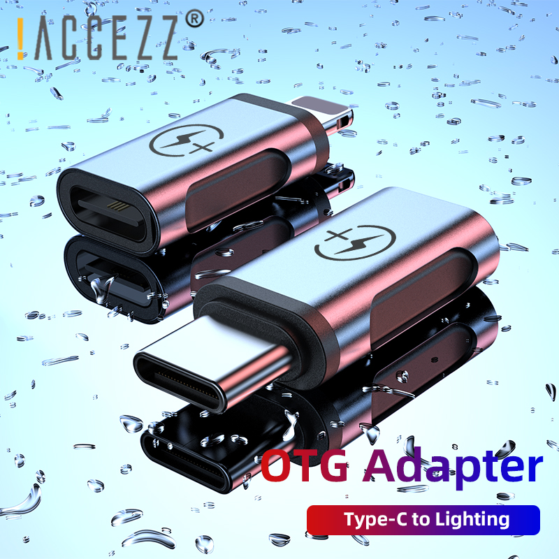 !ACCEZZ OTG Phone Adapter Lighting Male To Type-C Cable For Iphone XS USB C To Lighting Connector For Huawei P30 Cable Converter