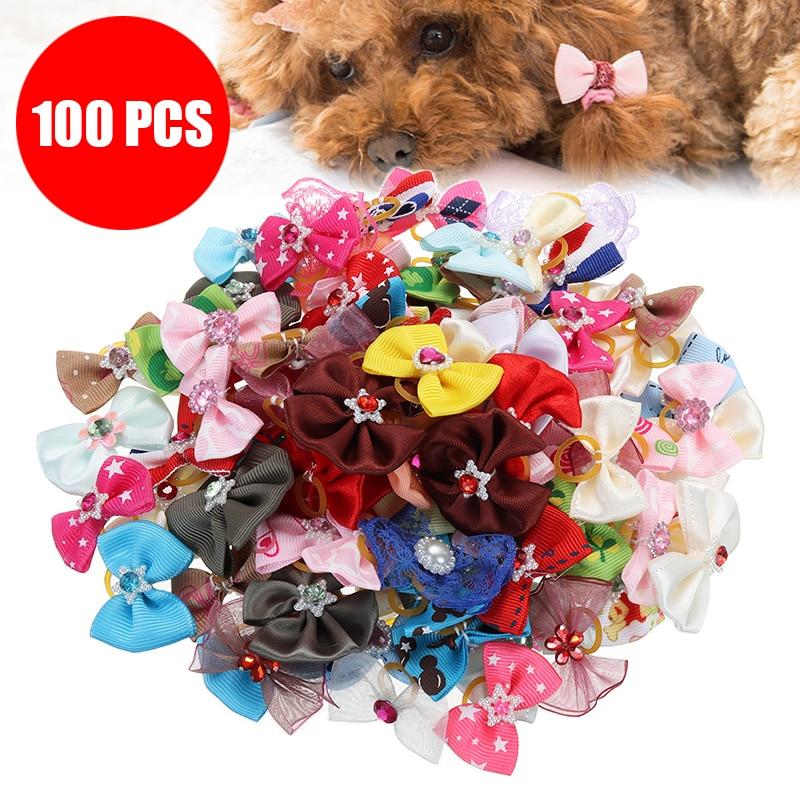 100Pcs Dog Hair Bows Dog Topknot Multicoloured Bows font b Pet b font Puppy Hair Bows