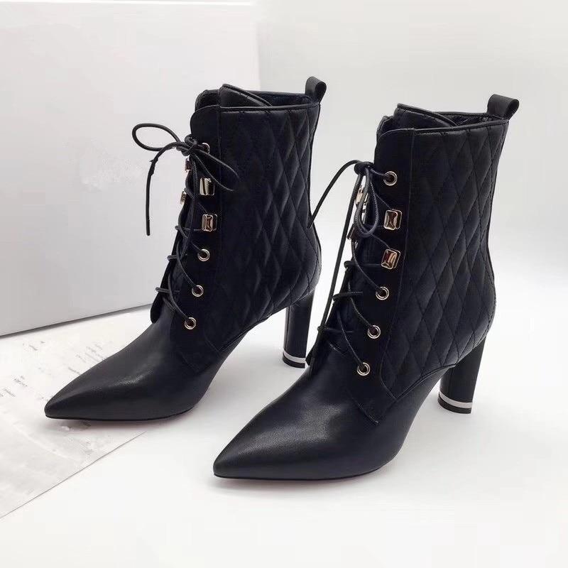 ; женские ботинки на высоком каблуке; вечерние женские ботильоны с острым носком; женская обувь - Цвет: Черный