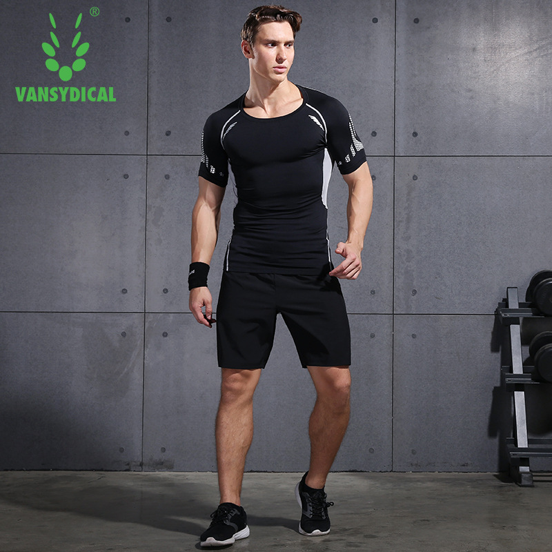 Vansydical Quick-Dry Sports Set <font><b>Men</b></font> Summer <font><b>Short</b></font>-sleeved <font><b>Shorts</b></font> Running Quick-Dry Tight Fitness <font><b>Suit</b></font> Two-Piece Set image