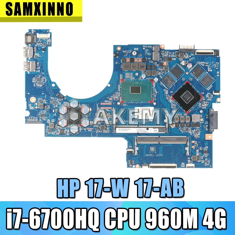 For HP 17-W 17-AB Laptop Motherboard DAG37AMB8D0 857389-601 857389-501 With <font><b>SR2FQ</b></font> <font><b>i7</b></font>-<font><b>6700HQ</b></font> CPU GTX960M 4G image