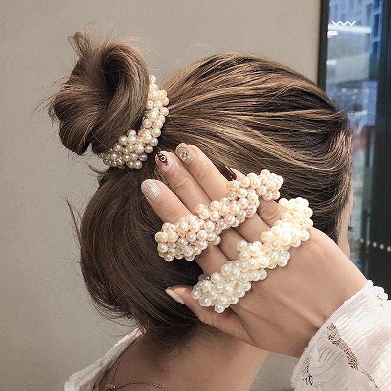 Модные обтянутая тканью; Прическа хвостик; В наличии искусственные жемчужные бусины резинки для волос аксессуары для волос для женщин, цвет...
