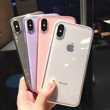 아이폰 11 12 프로 X XR XS 맥스 8 7 6 플러스 소프트 TPU 보호 커버 아이폰 11 프로에 대한 다채로운 명확한 실리콘 프레임 전화 케이스
