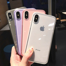 Colorful Clear Silicone Frame Phone Case For iPhone 11 12 Pro X XR XS Max 8 7 6 Plus Soft TPU Protection Cover For iPhone 11 Pro