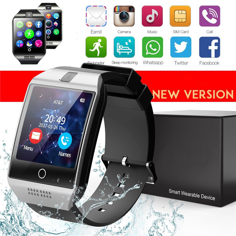 Q18 Smart Uhr Bluetooth Touch Screen Handgelenk Telefon Kamera TF <font><b>MP3</b></font> SIM Für Android IOS image