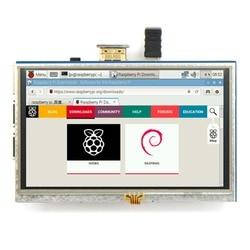 2017 جودة عالية الساخن بيع 5 بوصة مقاوم شاشة عرض LCD تعمل باللمس HDMI لتوت العليق Pi XPT2046 الساخن