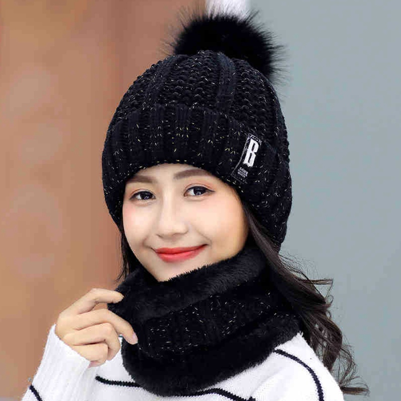 New Warm Women Hat Set Fashion Winter Hats For Woman Fur Lined Neck Warmer Cap Letter B   Beanie   Hat Girls Pompom Knitted Hat