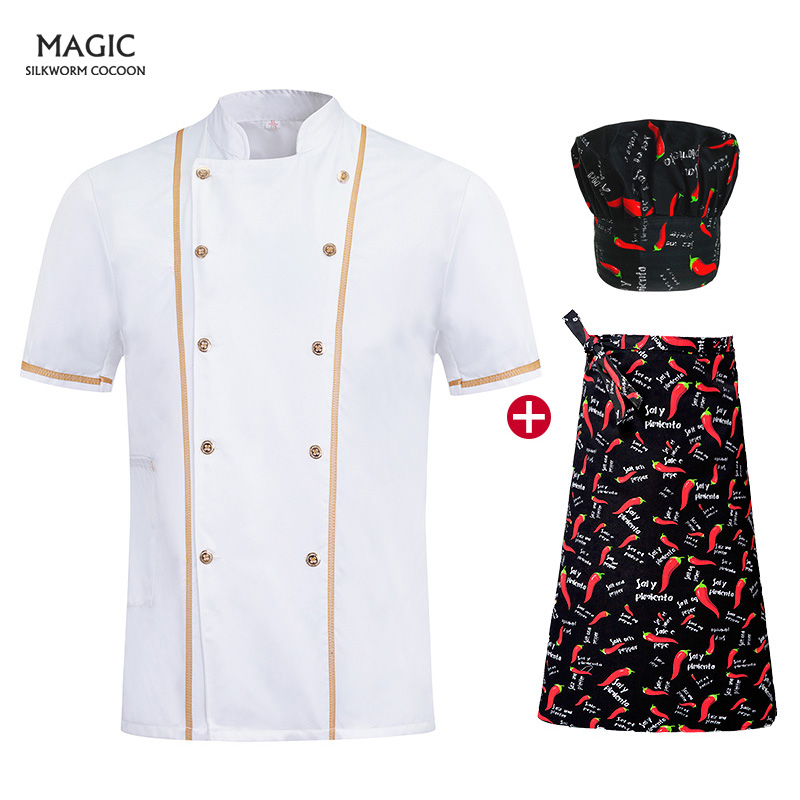 Summer Short-sleeved White Breathable Double-breasted Collar Overalls Men And Women Chef Apron Hotel Uniform Chef Hat Chef Shirt