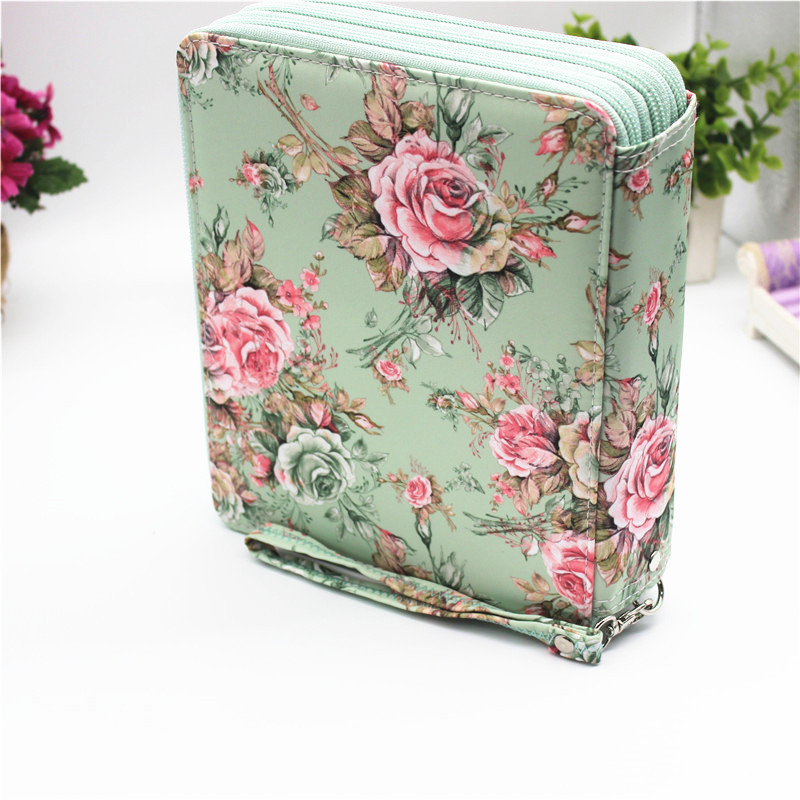 School Cute Flower Pencil Case Penal Large 127 Holes Pencilcase 3 Layers Cartridge Penalty Kit Pen Case Bag Box Stationery Pouch
