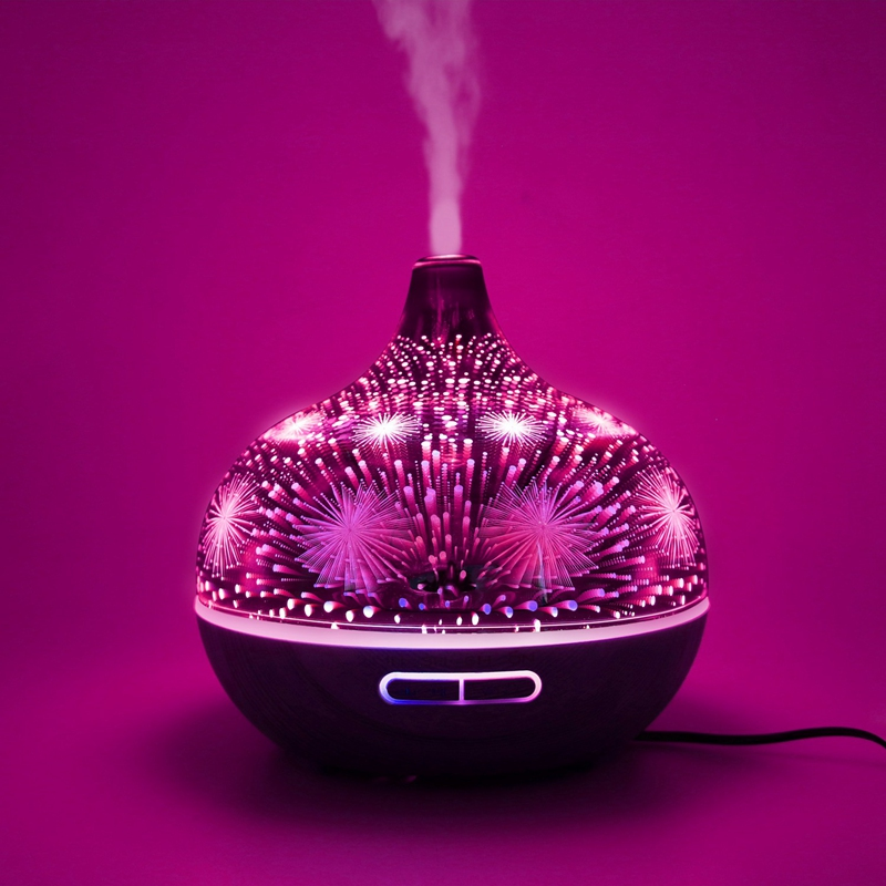 3D Firework Glass Air Humidifier With 7Color Led Night Light Aroma Essential Oil Diffuser Mist Maker Ultrasonic Humidifier Dark