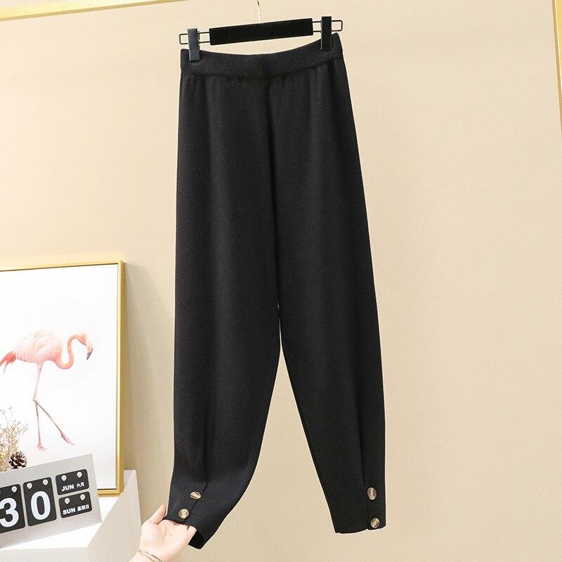 Осенние женские повседневные штаны-шаровары, свободные брюки для женщин, зимние теплые толстые вязаные штаны-свитера, женские брюки редис - Цвет: black