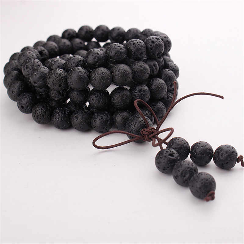 9.8 Feet in a Roll 6mm Natural Lava Rock Rosary Chain in Silver Wire