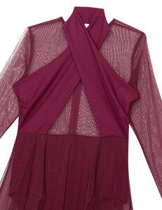 Image 5 - Vestido collant feminino, collant mangas compridas transparente malha pura vestido de dança ginástica adulto fantasia contemporânea traje de dança