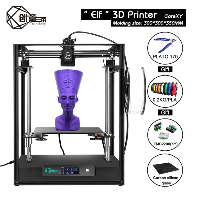 Creativity CoreXY Elf dual Z axis 3Dprinter High precision aluminum profile frame large area FDM TMC2208 drive 3DTOUCH low noise