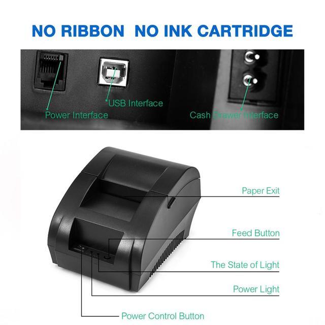 Zjiang POS Thermal Printer Mini 58mm USB POS Receipt Printer For Resaurant Supermarket Store Bill Check Machine EU US Plug 1
