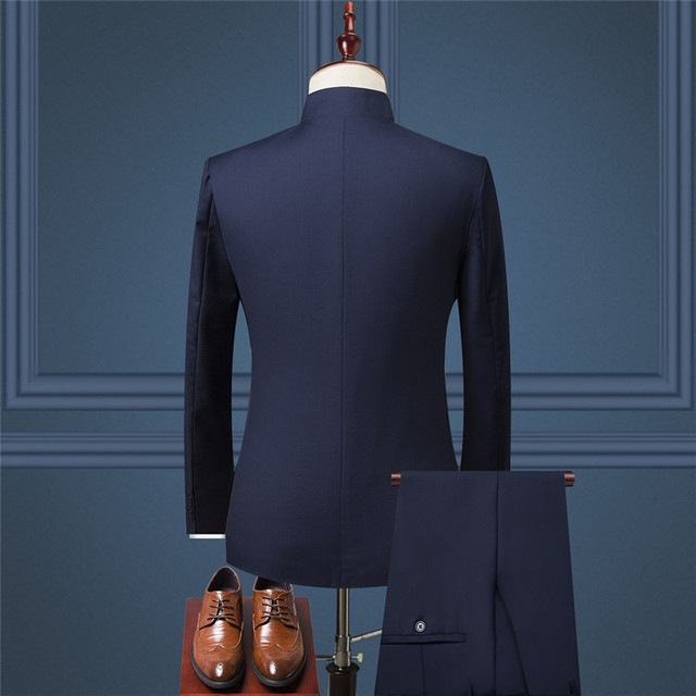 Chinese style mens 2-piece suit (suit Blazer + pants) autumn new retro jacket and trousers Blue black wine red