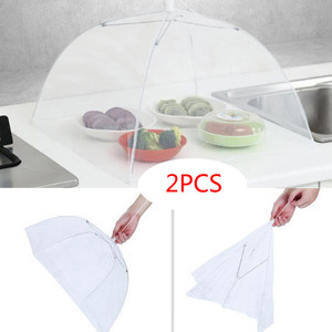 2 Large Pop-Up Mesh Screen Protect Food Cover Tent Dome Net Umbrella Picnic Kitchen Folded Mesh Anti Fly Mosquito Umbrella(China)