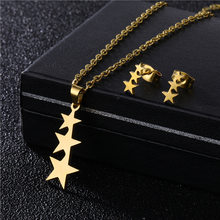 New Fashion Gold Color Stainless Steel Necklace + Earrings Heart Star Flower Geometric Statement Jewelly sets For Women Jewelry(China)
