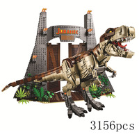 2019 Jurassic World T.REX RAMPAGE Building Blocks 2 Dinosaur Figures Bricks Compatible legoinglys 75936 Toys For Children dino