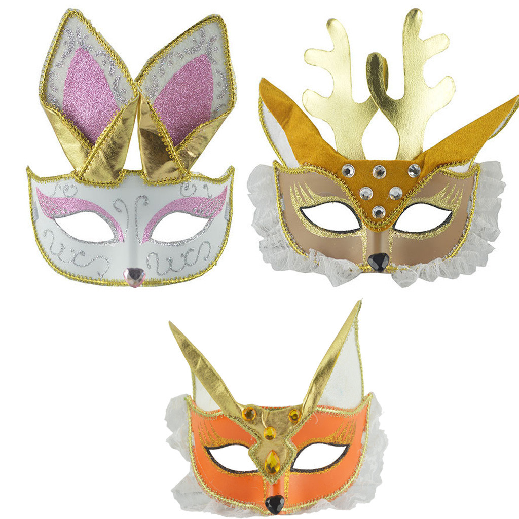 Black V Venetian Masquerade Ball Mardi Gras Fancy Mask Cosplay Prom Plastic