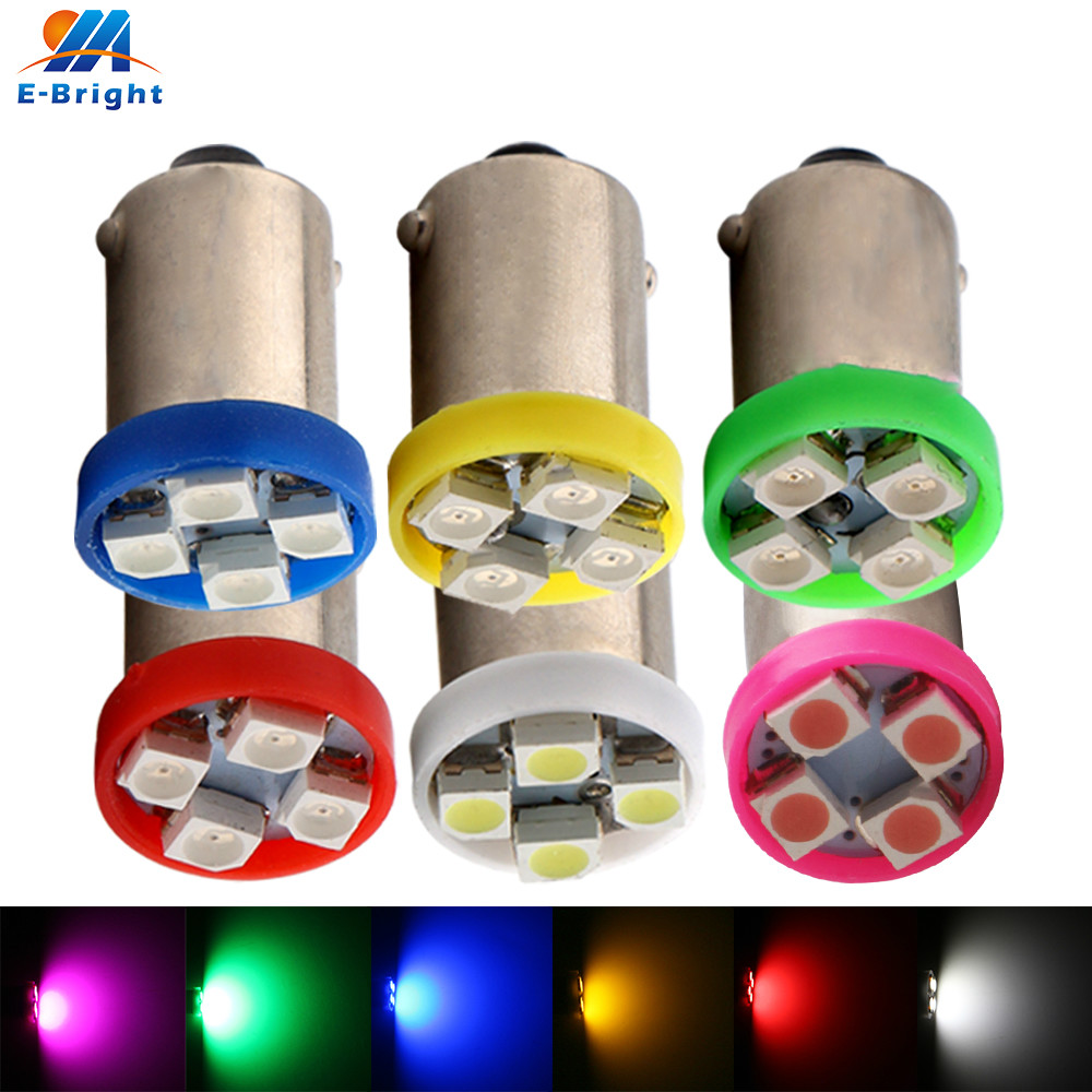 10X DC 6V/6.3V BA9S 1210 <font><b>4</b></font> <font><b>SMD</b></font> <font><b>Led</b></font> Bulbs Pinball Battery Game console Lamp flashlight Indicator Bulbs Red Green Amber Blue White image