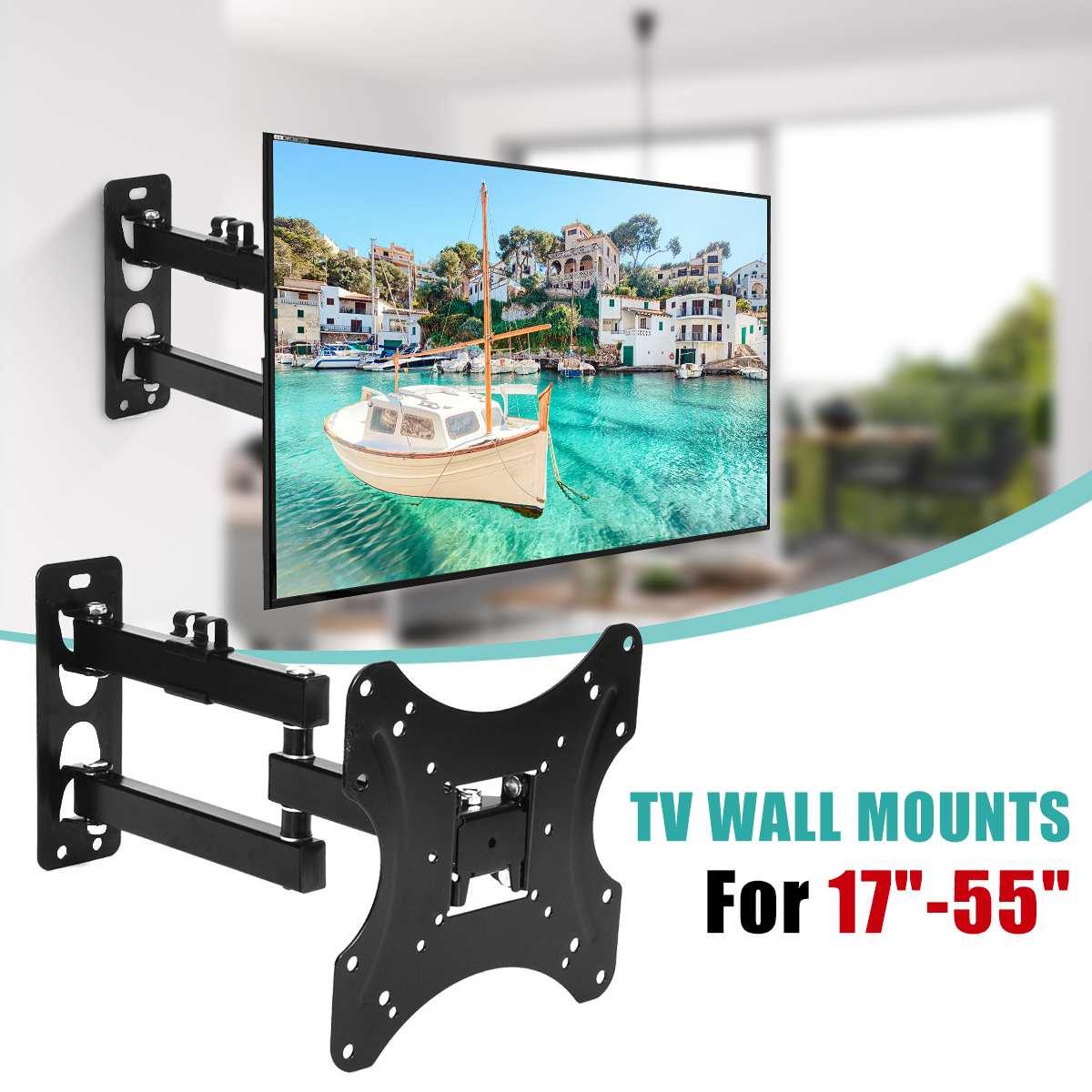 KINCO 17-55Inch Retractable Dual Arm Full Motion TV Wall Mount Tilt Swivels Screen Bracket Stand Plasma Holder