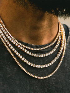 TOPGRILLZ Tennis Chain Charms Zircon Jewelry Gold Necklace Men Hip-Hop Iced-Out Bling