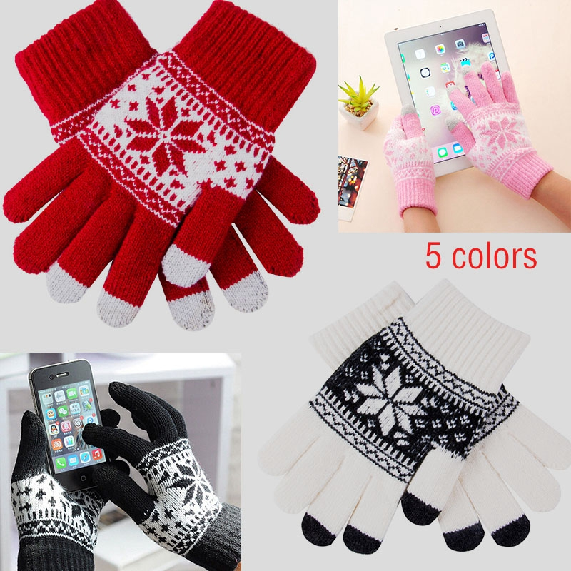 Winter Gloves Women Men Unisex Knit Warm Mittens Call Talking &Touch Screen Gloves Mobile Phone Pad