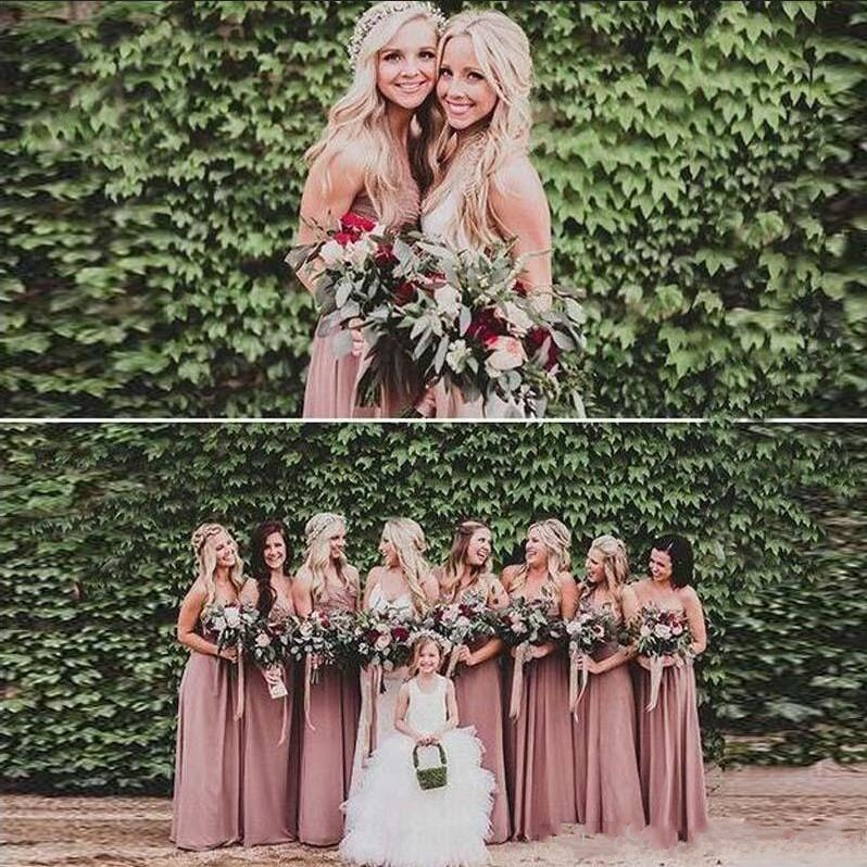 2020 Dusty Rose Pink Bridesmaid Dresses Sweetheart Ruched Chiffon A-line Long Maid of Honor Dress Wedding Party Gown