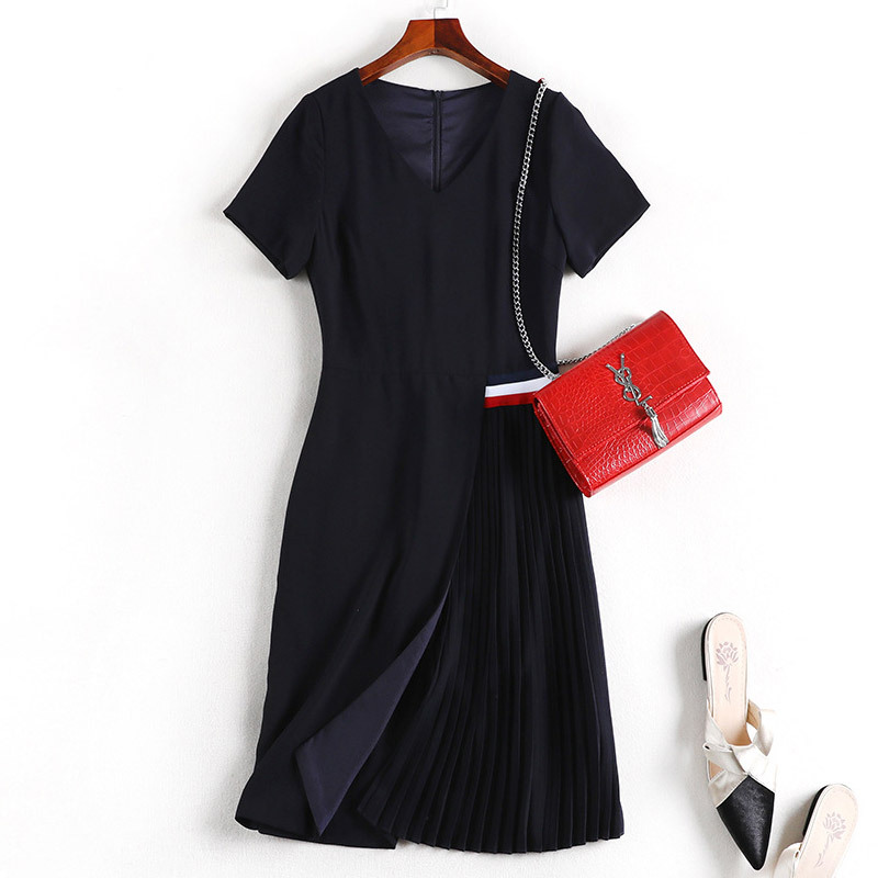 Lan Mu Square Fat Mm Dress Summer New Style 2019 Korean-style Slimming Large Size Dress Large GIRL'S Slimming 10473