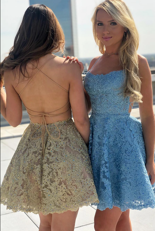 Sexy Spaghetti Straps Mini Dress Women Lace Cocktail Homecoming Party Dresses