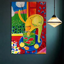 Poster Vintage Matisse Cat Catching Fish Art Canvas Painting Print Living Room Home Decor Modern Wall Art Oil Painting Poster HD цена и фото