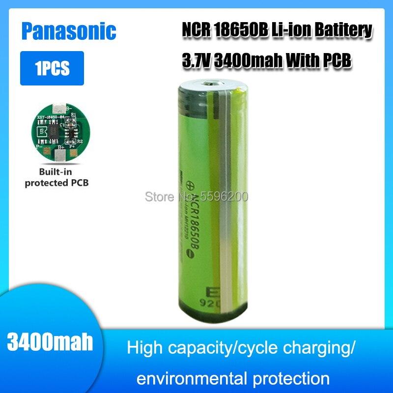 1pc panasonic ncr18650b protegido 3400mah li-ion recarregável 18650 bateria 3.7v com apontado + pcb para baterias de lanterna elétrica