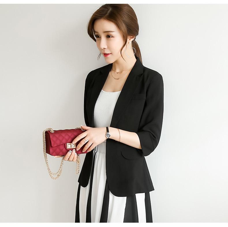 New 2020 Summer Short Blazer Women Elegant Jacket Plus Size 4XL Lady Work Wear Single Button Female Suit Outwear LX1758