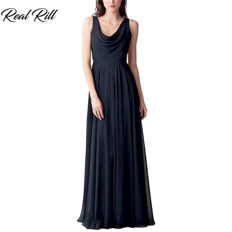 Real Rill Cowl décolleté robes de demoiselle d'honneur Zipper Up v-back plissée longueur de plancher en mousseline de soie robe de mariée pour la fête de mariage - 2