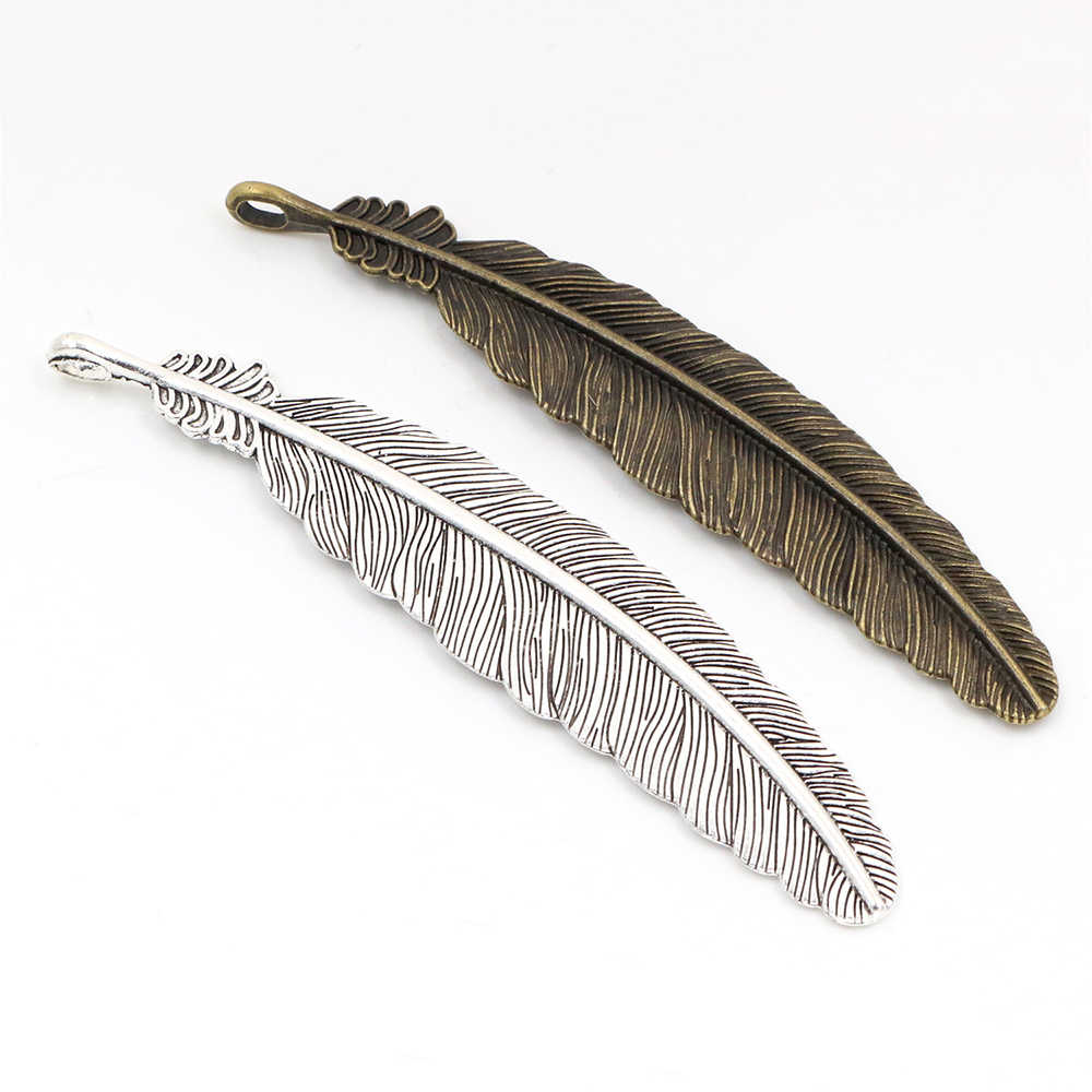 105x21mm 3pcs Antique Silver and Bronze Plated Feather Style Handmade Charms Pendant:DIY for bracelet necklace