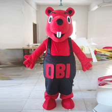 Halloween red bear costume cartoon character mascot