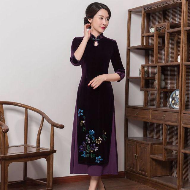 2019 satış yüksek Quinceanera Vietnam kadife Cheongsam geliştirilmiş Qipao elbise uzun el boyalı kadın yeni fon sonbahar kış