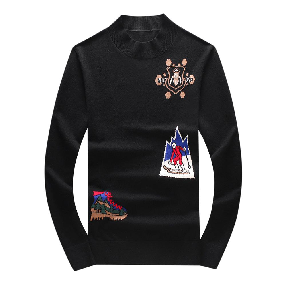 New Kiryaquy Men Luxury Gentleman Cotton Embroidery Bee Skiing Casual Sweaters Pullover Asian Plug Size High Drake #N142