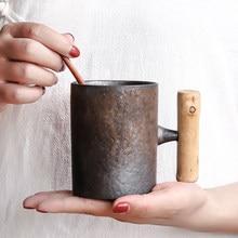 Kreatywny retro drewniany uchwyt kubek z łyżeczką domowy ceramiczny kubek na herbatę ręcznie kamionkowy biurowy kubek do kawy styl japoński