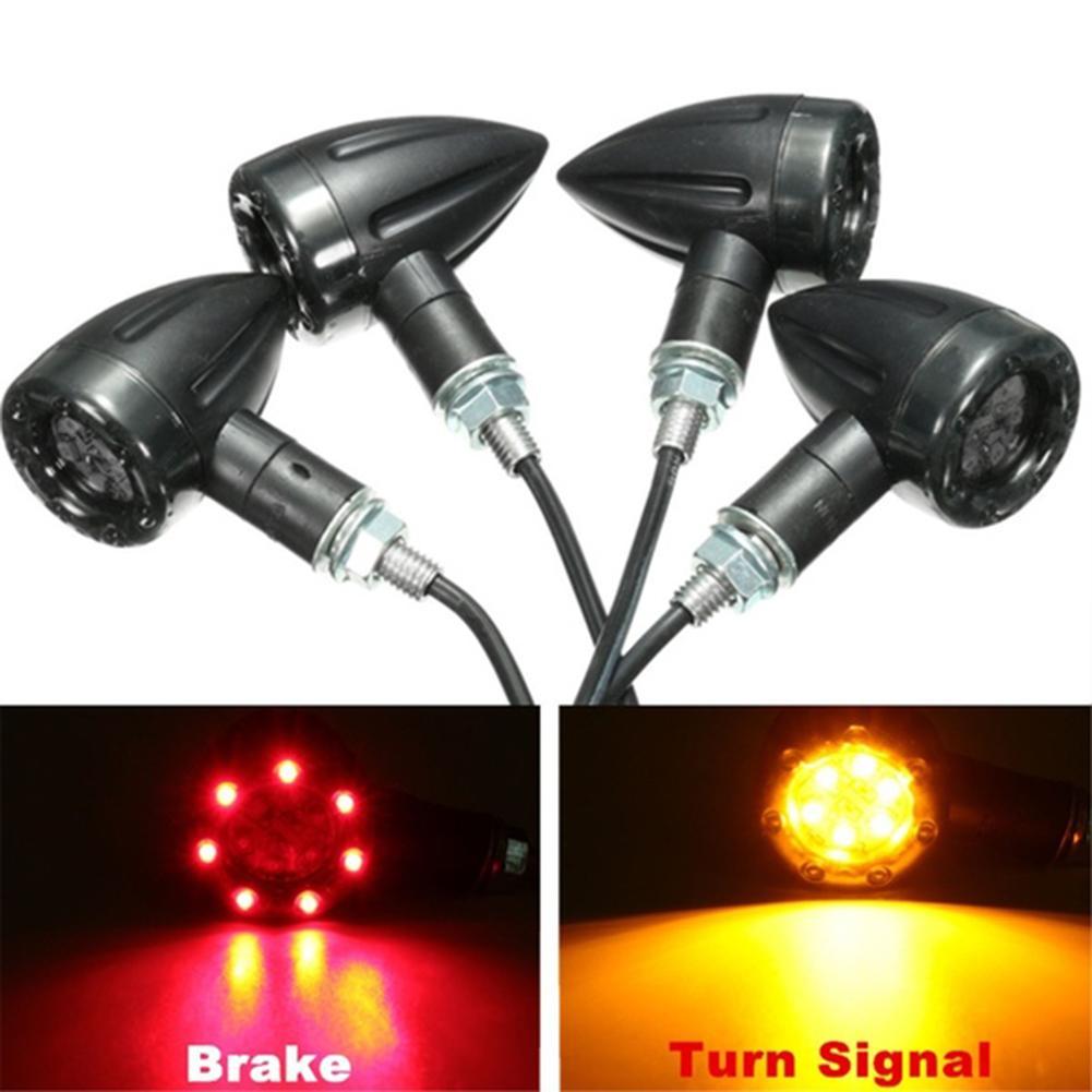 4Pcs/Set DC 12V Universal Motorcycle LED Lamp Rear Turn Signal Brake Lights Indicator Black ABS Housing PC Lens LED