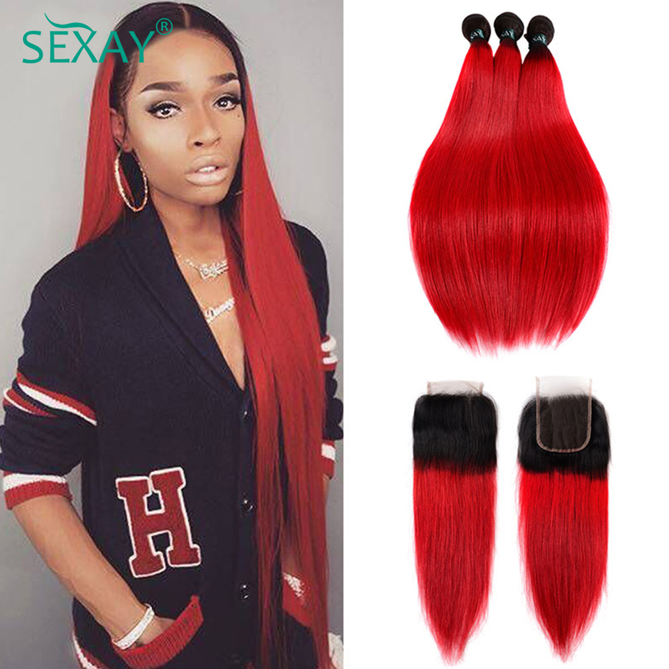 Ombre Bundles With Closure Dark Roots Ombre Red Human Hair Brazilian Straight Hair 3 Bundles SEXAY Red Bundles With Closure Remy