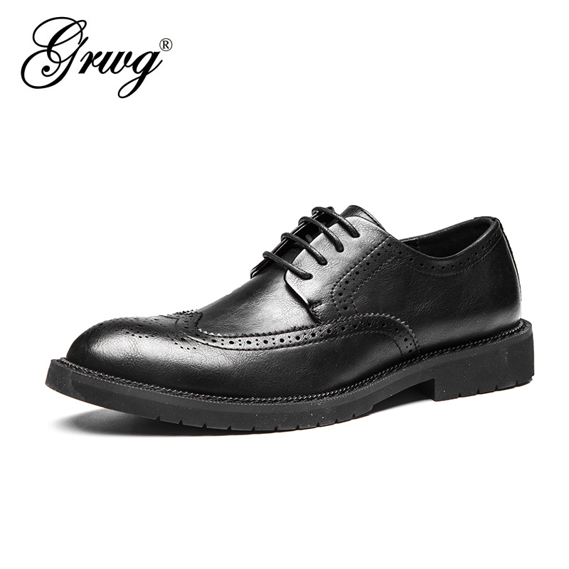 GRWG High Quality New Men Flats 100% Genuine Leather Men Shoes Brand Oxfords Spring Men Business Shoes