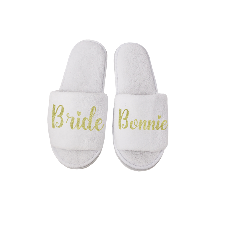 Personalized Wedding Slippers,wedding Bride&Bridesmaid Name Slippers,Bridal Party Spa Slippers,Bachelorette Party Favors Gifts
