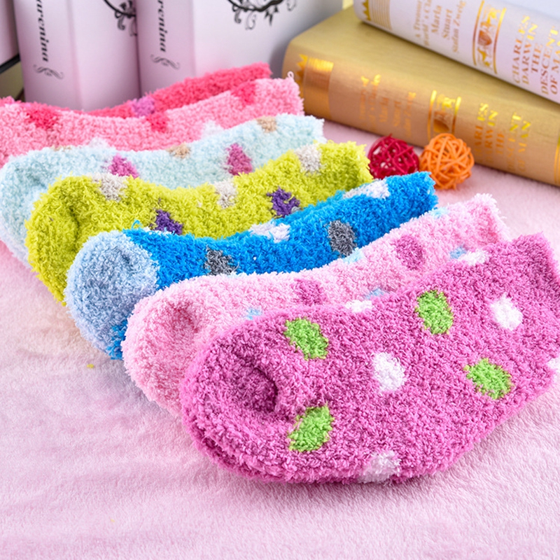 1 Pair Mid-calf Length Sock Winter Sweet Candy Warm Coral Fleece Baby Socks  Soft Warm For 1-8 Years Children