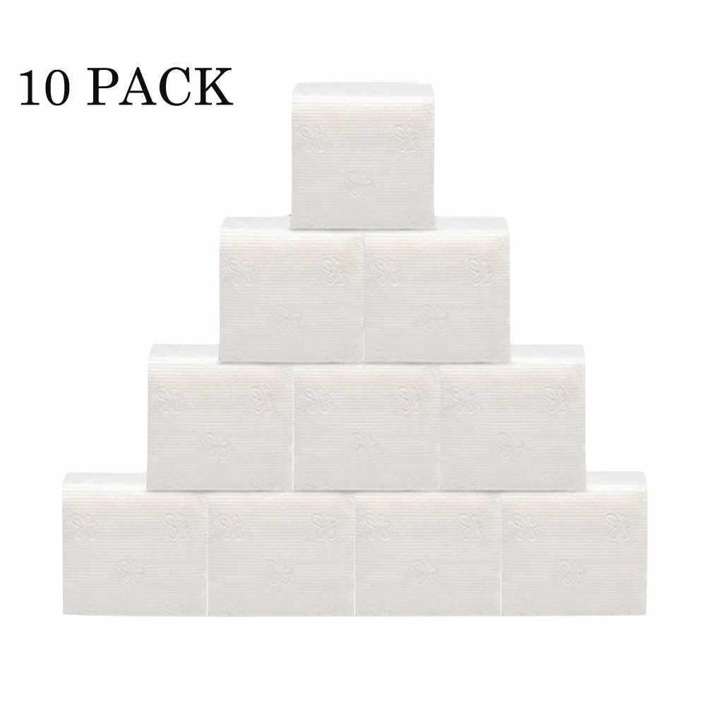 Rollo de papel de baño para el hogar, toallas blancas, servilleta, paquete de 10 toallas de papel para manos blancas, paquete de 60 hojas de pañuelos, servilleta suave