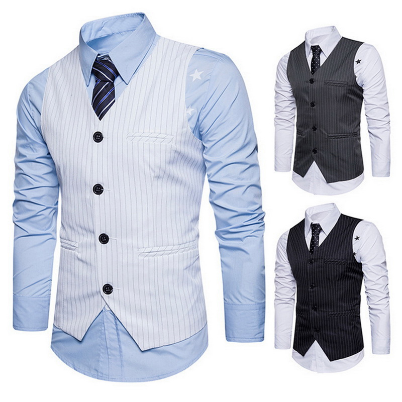 Men's Suit Waistcoat Striped Single Breasted Vest  Classic England Business Waistcoat Vest Wedding Male Groomsmen Clothes